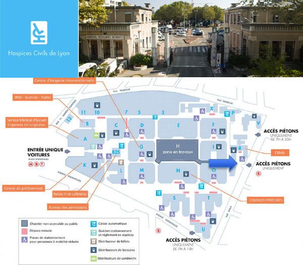 Plan de l'hôpital edouard Herriot